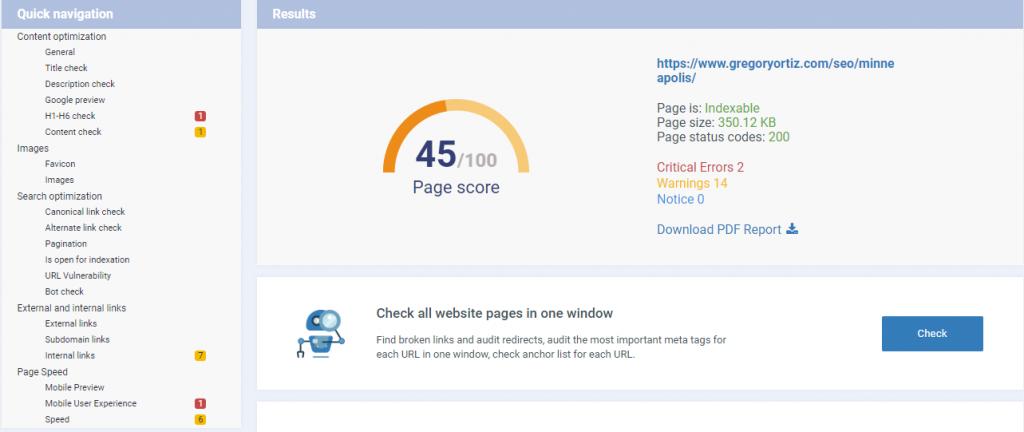 Minneapolis SEO Expert On Page SEO Score for Gregory Ortiz