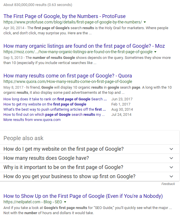 first page of Google number of results